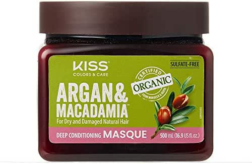 Kiss Colors & Care Organic Argan & Macadamia Deep Conditioning Masque 16.9 fl. oz.
