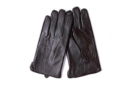 YISEVEN Men's Sheepskin Leather Gloves Three Points Wool Lined Real Luxury Design Soft Hand Warm Fur Heated Lining for Winter Stylish Dress Work Xmas Gift and Motorcycle Driving, Brown 095/Large by YISEVEN (Image #1)