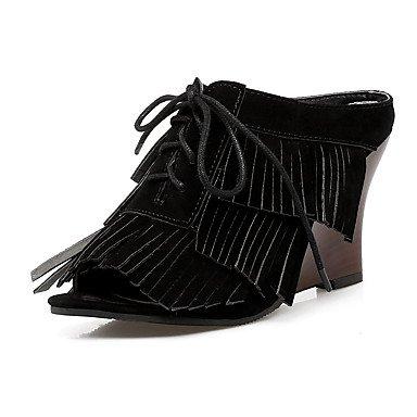 LvYuan Mujer-Tacón Cuña-Otro-Sandalias-Vestido Informal-Vellón-Negro Marrón Gris Black