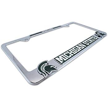 premium ncaa mascot license plate frame w dual 3d logos michigan state - Michigan State License Plate Frame