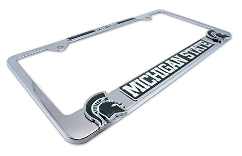 AMG Premium NCAA MSU Spartans Mascot License Plate Frame w/Dual 3D Logos (Michigan ()