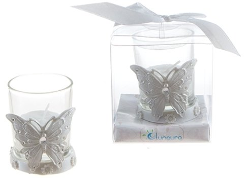Butterfly Poly Resin Candle Set - White [48 Pieces] - Butterfly Poly Resin Candle Set - Whitea Butterfly With Multiple Crystals Votive Candle Holder. Each Comes Encased In An Clear Plastic Box And Ti (Butterfly In Resin compare prices)