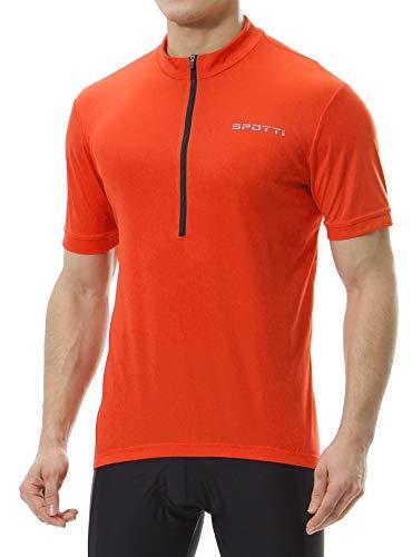 Spotti Men's Basic Short Sleeve Cycling Jersey - Bike Biking Shirt (Orange, Large)