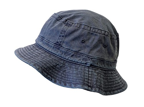 Bucket Hat, Unisex Pigment Dyed Washed Garment Outdoor Hat (Garment Washed Pigment Dyed Twill)
