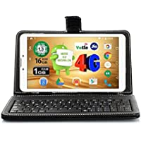 Ikall N4 Tablet (7 inch, 8GB, 4G + LTE + Voice Calling), White with Keyboard