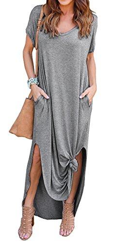 GRECERELLE Solid V-Neck Pocket Loose Maxi Dress Gray XL ()