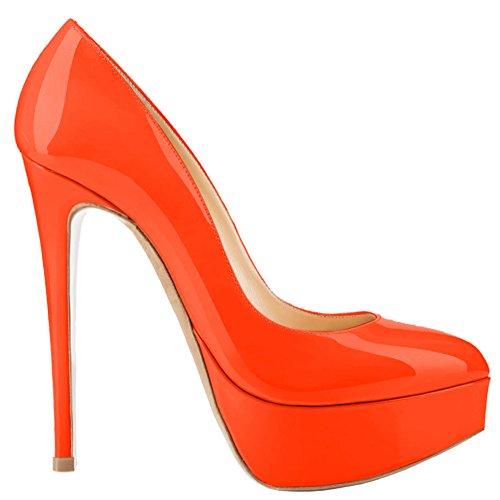 Aooar Da Donna Con Plateau Bicolore A Spillo Alto Spillo A Stiletto Arancione