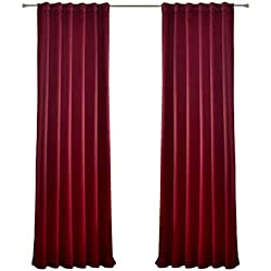 "MYSKY HOME Burgundy Blackout Curtain Drapes for Home Theater Thermal Insulated Back Tap and Rod Pocket Room Darkening Curtain Panels for Living Room (Burgundy, 52"" W x95 L, Set of 2 Drapes)"