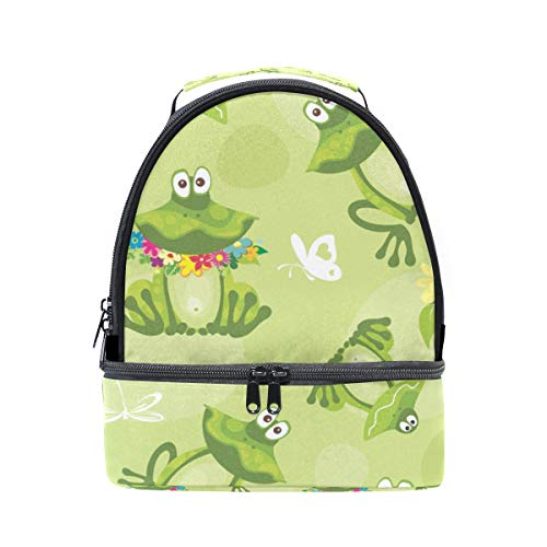 Bolso picnic diseño en con flores y ranas color doble ajustable de correa verde almuerzo de para FwfzWgFrZq