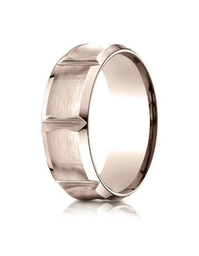 14k Rose Gold 8mm Comfort-Fit Satin-Finished Beveled Edge Concave with Horizontal Cuts Carved Design Wedding Band Ring for Men & Women Size 4 to 15