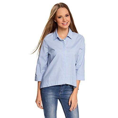 oodji Ultra Mujer Camisa Ancha con Espalda Larga low-cost ... 7b6458e9dcb2