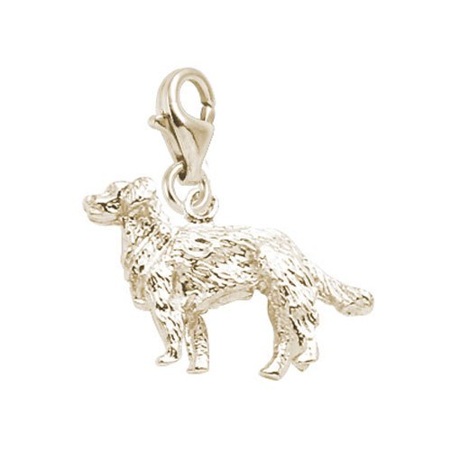 (Rembrandt Charms Golden Retriever Charm with Lobster Clasp, Gold Plated Silver)