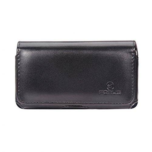 Black Horizontal Leather Side Carrying Phone Case with Swivel Belt Clip and Loops for Verizon Pantech Hotshot - Verizon Samsung ATIV Odyssey - Verizon Samsung Saga i770 - Virgin Mobile HTC Desire 601
