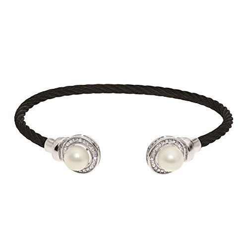 Stainless Steel+Silver with Black Rhodium Finish Cuff Bangle with 7mm Pearl+0.03Ct.Diamond by BH 5 Star Jewelry