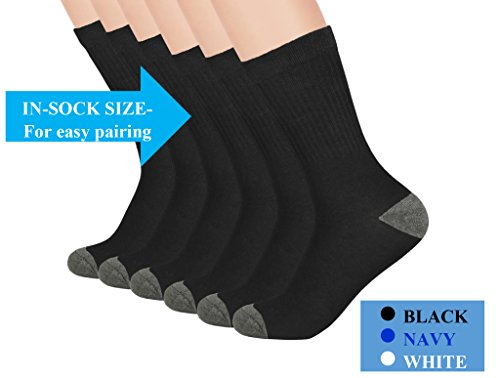 Boys Crew Socks - Boys Athletic Socks - Ribbed, Breathable, Cushioned - 3 and 6 Pack - by (Ribbed Diabetic Socks)