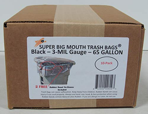75% Recycled Trash Bags - 65 Gallon Super Big Mouth Trash Bags 10-Pack Plus 2 Free Rubber Tie Down Band