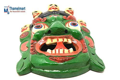 TM THAMELMART FOR BEAUTIFUL MINDS Hand Craving Nepalese Lord Mahakala Tibetan Buddhism Wooden Mask Wall Decor Green