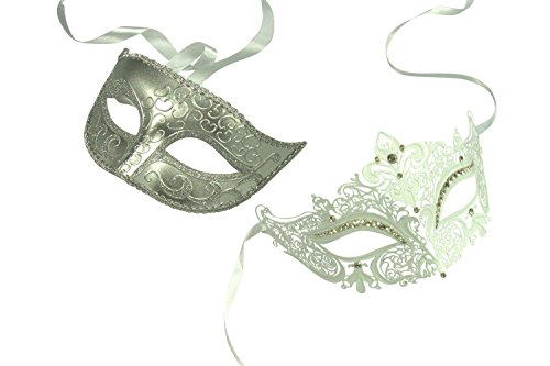 KAYSO INC Original Lover's White Collection - Couple's Masquerade Mask Set, Set 1 (2)