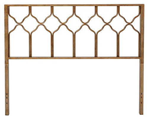 In Style Furnishings Classic Geometric Metal Honeycomb Headboard in Brushed Gold for Queen Size Beds