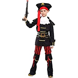 stylesilove Kid Boys Halloween Costume Cosplay Outfit Themed Birthdays Party (Royal Pirate Captain, M/4-6 Years)