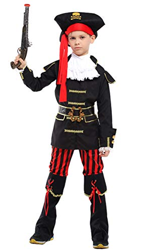 stylesilove Kid Boys Halloween Costume Cosplay Outfit Themed Birthdays Party (Royal Pirate Captain, L/7-9 Years) -