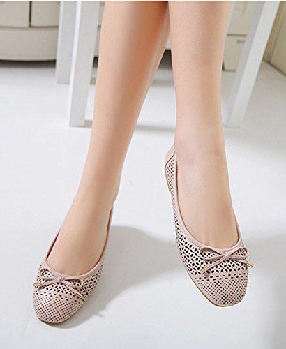 Aisun Damen Bequem Schleifen Flache Schuhe Ballerinas Beige