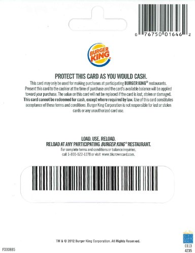 Burger King Gift Card - back