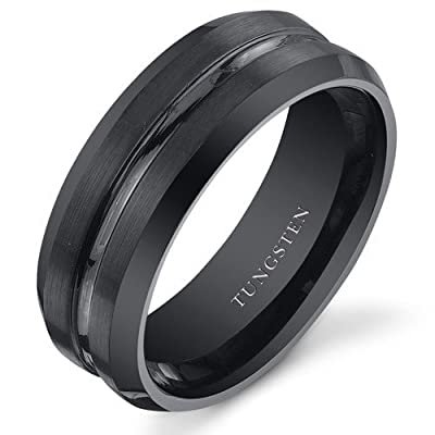 King Will 8mm Polished Edge/ Matte Brushed Finish Center Black Tungsten Carbide Ring Men's Wedding Band