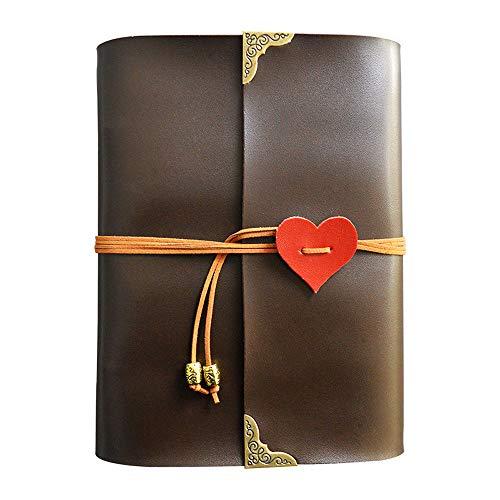 Longpro Creative DIY Loose-leaf Photo Album Leatherette Binded Album Series Anniversary Scrapbook (Heart, Dark Brown)