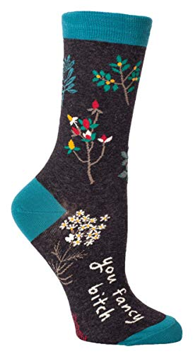 - Blue Q Women's Crew Socks , You Fancy B---h, Women's Shoe Size 5-10