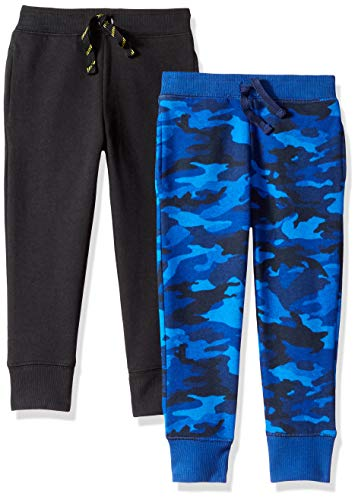 - Spotted Zebra Toddler Boys' 2-Pack Fleece Jogger Pants, Blue Camo/Black, 4T