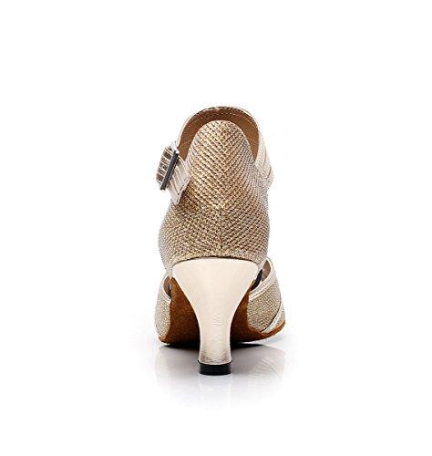 Miyoopark Womens Gesp Glitter Latin Salsa Tango Dansschoenen Mode Bruiloft Sandalen Licht Goud-6cm Hak