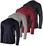 4 Pack: Youth Dry-Fit Moisture Wicking Active Athletic Performance Long-Sleeve T-Shirt Boys & G