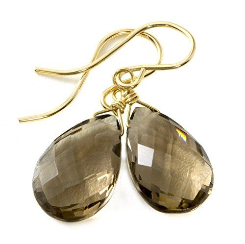 y Quartz Earrings Dark Faceted Pear Smokey Teardrops Briolettes ()