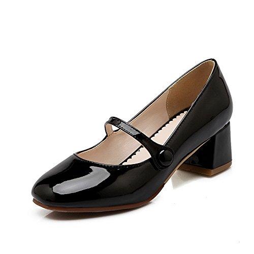 de Tacones Odomolor mujer para cuero Tirar Sólido Negro Bombas Zapatos de gatito zapatos y cerrado cuadrado 0wqYcdC
