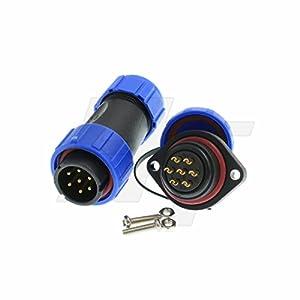 HangTon HE21 7 Pin Power Connector Plug Socket Outdoor Waterproof Industrial Aviation, 15 Amp High-Current