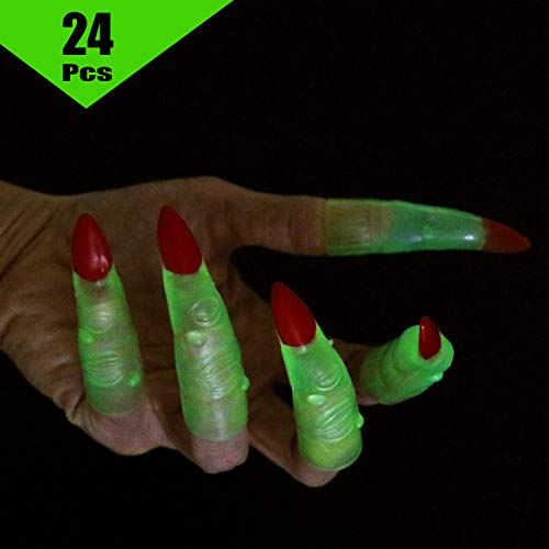 Halloween Fingers Bread Dough (GIFTEXPRESS 24pc Glow in The Dark Halloween Witch Fingers Witch Costume Accessory/Reading Trackers/Pointer Fingers/Martian Costume Fingers)