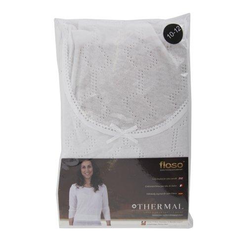 FLOSO - Camiseta térmica interior de manga larga de viscosa para mujer Blanco