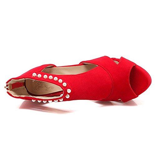LongFengMa Sandals Women Zipper Strappy Heel Sexy Peep Platform High Red Toe f7fFZq