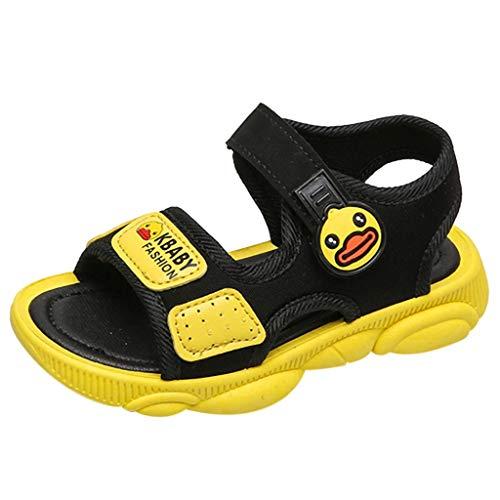 iYBUIA Children Infant Kids Baby Boys Cute Girls Open Toe Cartoon Duck Beach Sport Sandals Shoes Yellow