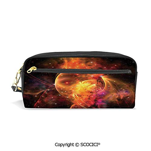 Students PU Pencil Case Pouch Women Purse Wallet Bag Outer Space Nebula Forming Star Cluster and Galaxy Cosmos Astronomy Universe Waterproof Large Capacity Hand Mini Cosmetic Makeup Bag