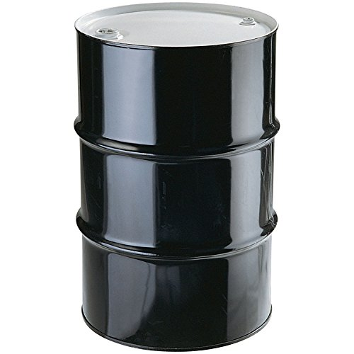 New Pig DRM966 Tight-Head UN Rated Lined Steel Drum with Bungs, 55 Gallon Storage Capacity, 23'' Diameter x 33'' Height, Black/White
