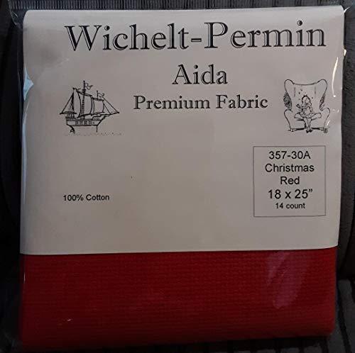 Wichelt Permin Premium Aida Cross Stitch Fabric 14 Count Christmas RED 18