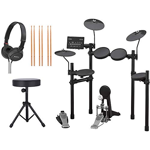 Yamaha DTX452K Electronic Drum Kit with Adjustable Height Padded Drum Throne, 3-Pairs of Drumsticks, and On-Ear Stereo Headphones