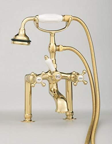 (Cheviot 5100 Series Extra-Tall Deck-Mount Tub Filler - Cross Handles - Porcelain Accents | Brass | Chrome | Cross)