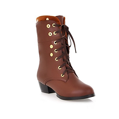 Brown Closed 5 with Toe Soft Material 5 US Kitten PU Womens Bandage Solid Heels Rivet B M and Round AmoonyFashion Boots ZwqgExB
