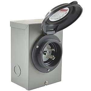Conntek 80571-bkbx 30A 125V entrada caja 30Amp energía temporal, Negro, negro