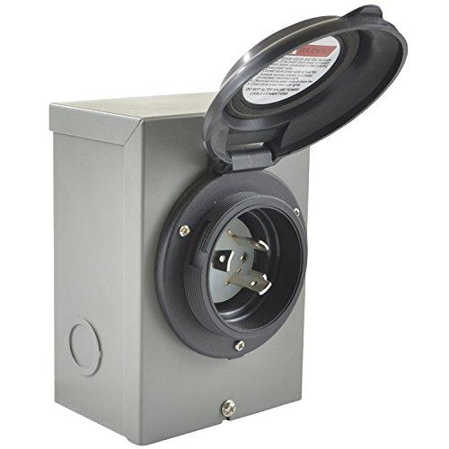 (Conntek 80571-BKBX 30A 125V 30Amp Temporary Power Inlet Box, Black)