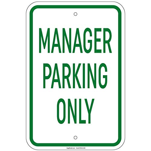 Heavy Gauge Manager Parking Only Sign Metal Tin Sign Outside Decor Aluminum Sign for Garage Driveway