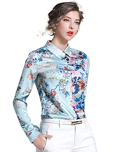 Women's Shirts Floral Print Long Sleeve Button up Casual Blouse Top Light Turquoise